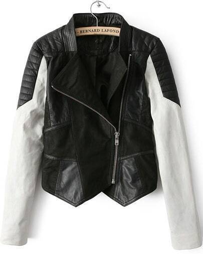 Black and White High Collar PU Leather Jacket