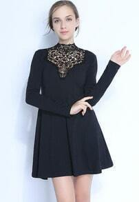 Black Long Sleeve Contrast Lace High Neck Flare Dress