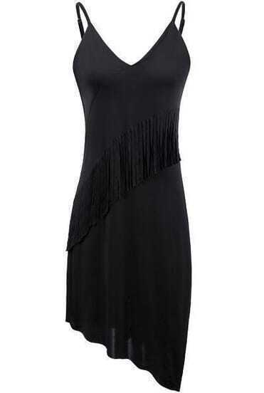 Black V-neck Tassel Embellishment Asymmetric Hem Dress