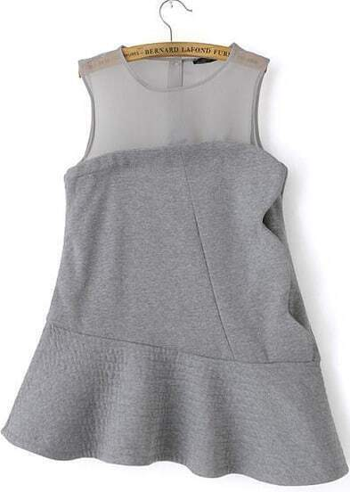 Grey Sleeveless Contrast Gauze Asymmetric Hem Dress