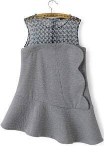 Grey Sleeveless Contrast Houndstooth Gauze Asymmetric Hem Dress