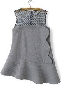 Grey Sleeveless Contrast Houndstooth Gauze Asymmetric Hem Dress