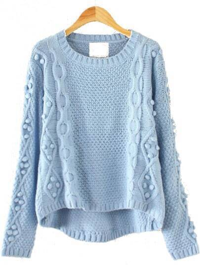 Blue Long Sleeve Geommetric Knitting High Low Sweater