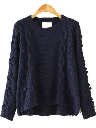 Navy Longg Sleeve Geommetric Knitting High Low Sweater