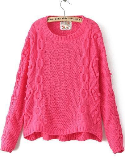 Rose Red Long Sleeve Geommetric Knitting High Low Sweater