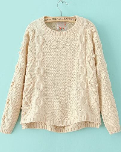 Beige Long Sleeve Geommetric Knitting High Low Sweater