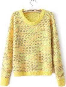 Yellow Geommetric Blocking Knitting Sweater