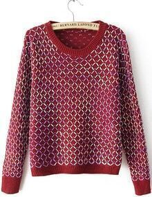 Red Geommetric Blocking Knitting Sweater