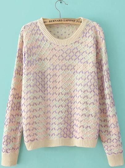 Beige Geommetric Blocking Knitting Sweater