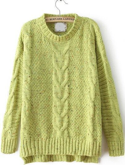 Green Cable Knitting Rib Hem High Low Sweater