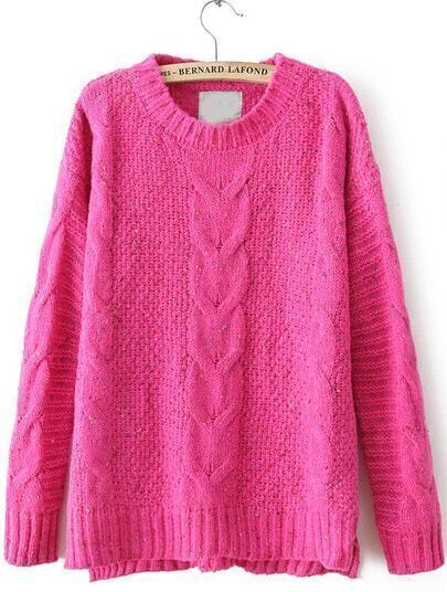 Rose Red Cable Knitting Rib Hem High Low Sweater