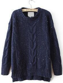 Navy Cable Knitting Rib Hem High Low Sweater