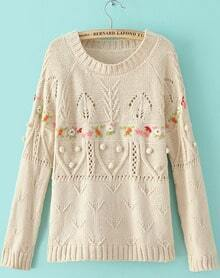 Beige Handmade Hook Flower Mix Knit Jumper