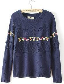 Navy Handmade Hook Flower Mix Knit Jumper