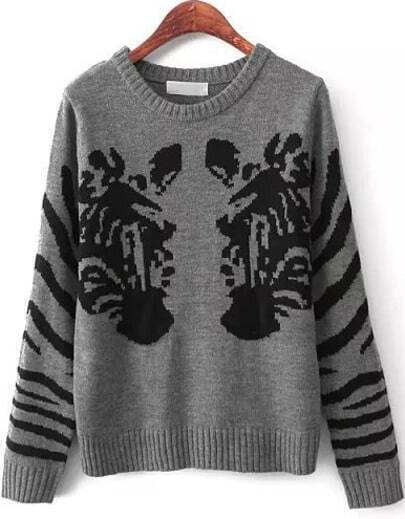 Grey Round Neck Zebra Knit Jumper