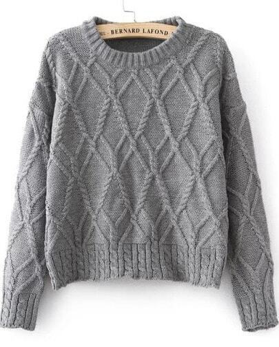 Grey Long Sleeve Mix Cable Knit Jumper