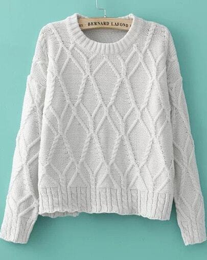 Beige Long Sleeve Mix Cable Knit Jumper