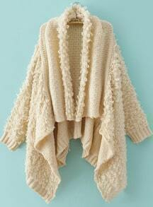 Beige Draped Front Shaggy Cardigan