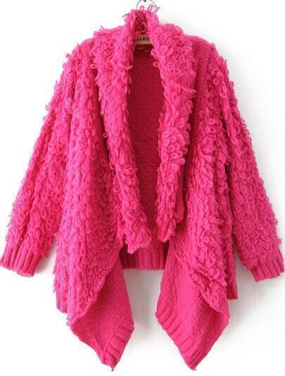 Rose Red Draped Front Shaggy Cardigan