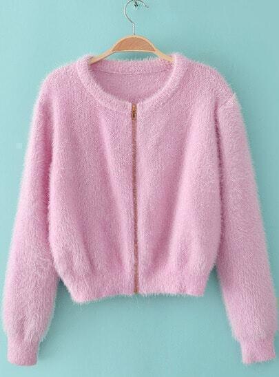 Pink Mohair Zipper Front Crop Cardigan
