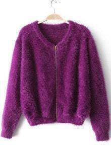 Purple Mohair Zipper Front Crop Cardigan