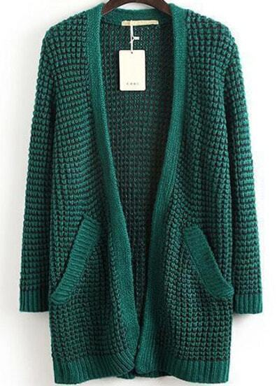 Green Double Pockets Waffle Knit Longline Cardigan