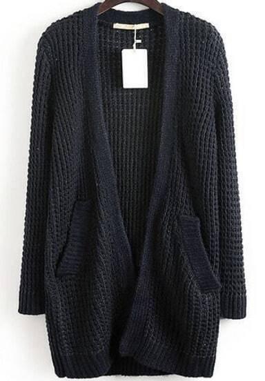 Black Double Pockets Waffle Knit Longline Cardigan