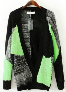 Green and Black Geommetric Blocking V-neck Cardigan