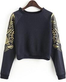 Navy Embroidery Long Sleeve Crop Sweater