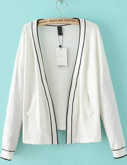 White Collarless Contrast Rib Hem Cardigan