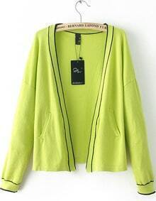 Neon Green Collarless Contrast Rib Hem Cardigan