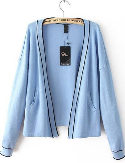 Blue Collarless Contrast Rib Hem Cardigan