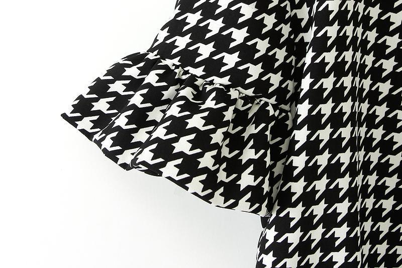 bluse mit glencheck muster schwarz wei german shein. Black Bedroom Furniture Sets. Home Design Ideas