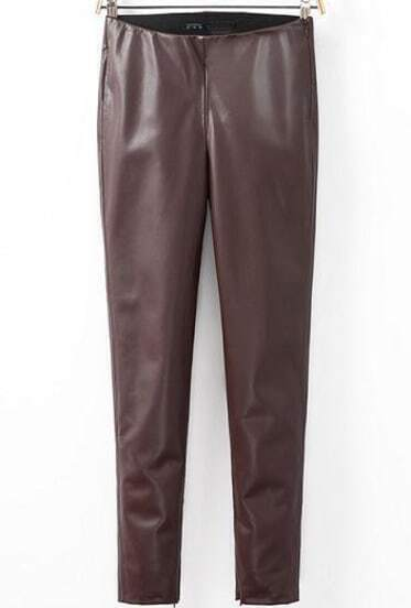 Wine Red Skinny PU Leather Pant