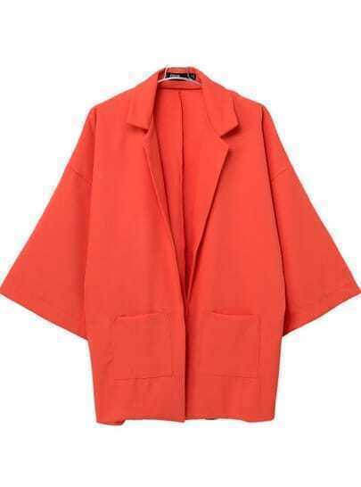 Orange Notch Lapel Patched Pockets Kimonos