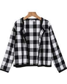 Black White Plaid Long Sleeve Crop Outerwear