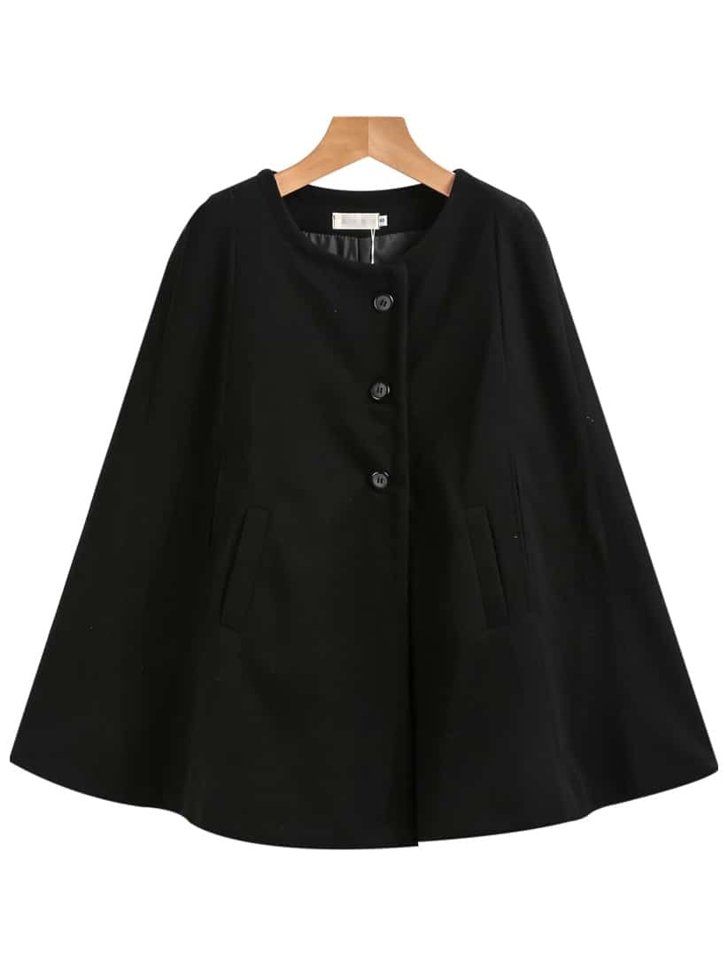 Black Single Breasted Pockets Cape Coat -SheIn(Sheinside)