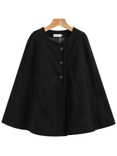 Black Single Breasted Pockets Cape Coat