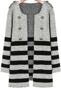 Grey Long Sleeve Striped Epaulet Coat