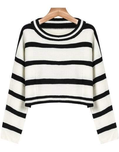 Black White Striped Crop Knit Sweater