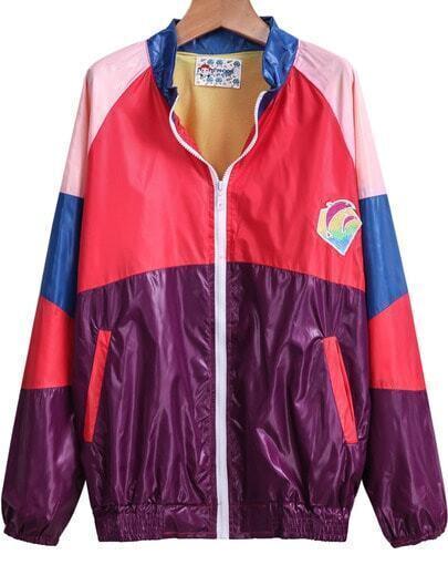 Purple Long Sleeve Pockets Loose Jacket