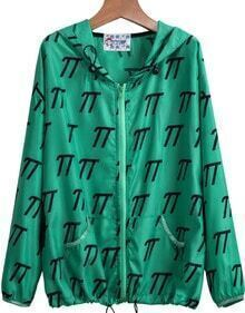 Green Hooded Long Sleeve Print Loose Jacket