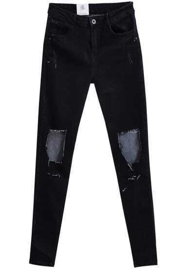 Black Ripped Slim Denim Pant
