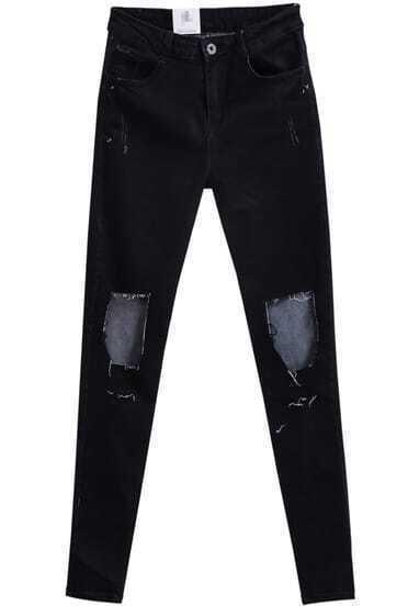 Black Ripped Slim Denim Pant