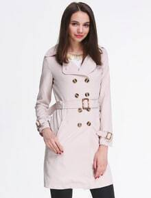 Apricot Long Sleeve Notch Lapel Trench Coat -SheIn(Sheinside)