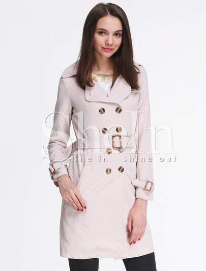 Apricot Long Sleeve Notch Lapel Trench Coat
