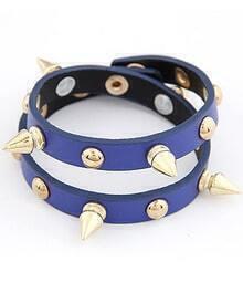Blue Rivet Leather Bracelet