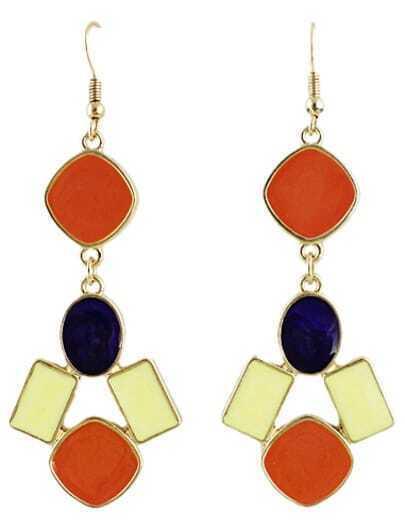 Purple Red Gemstone Gold Geometric Earrings