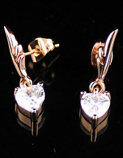 Gold Heart Diamond Wing Earrings