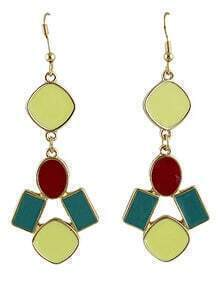 Green Red Gemstone Gold Geometric Earrings